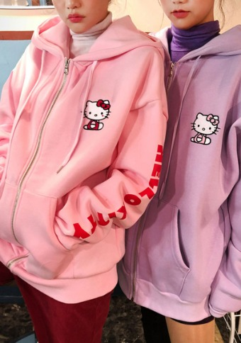Hello Kitty X Chuu soft hood zip-up